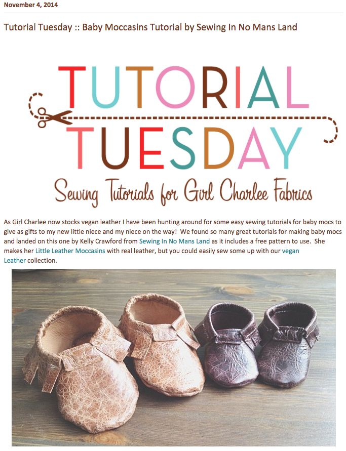 Today's Tutorial Tuesday features Little Leather Moccasins from Sewing In No Mans Land! Grab your Girl Charlee vegan leather and read how to make them here ::