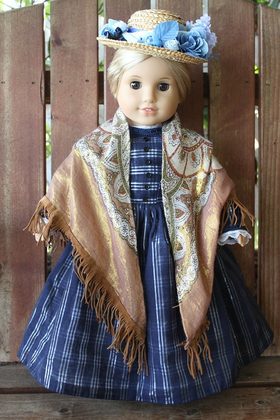 A is for Annabelle's blue and silver plaid day dress with shawl and hat by bobbyjosue, on Etsy