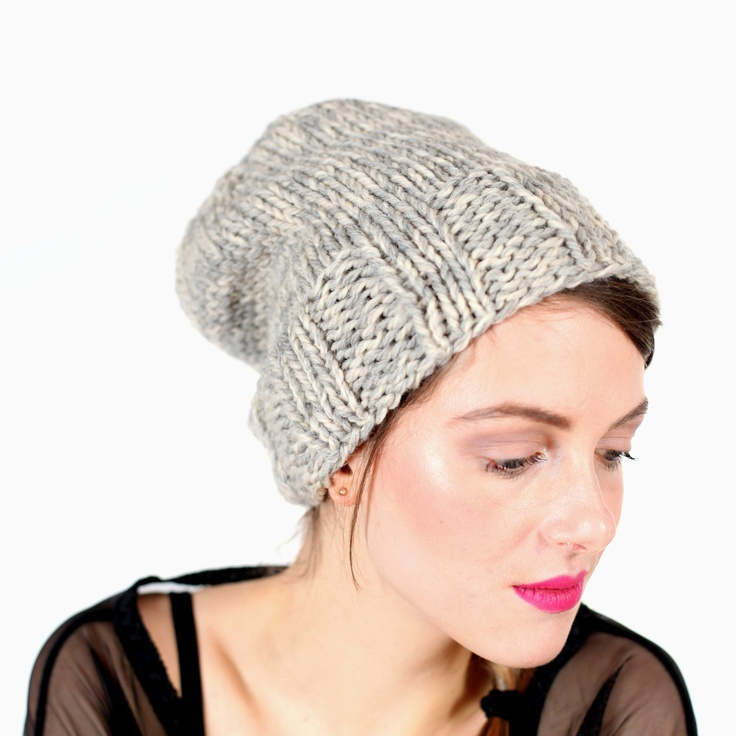 slouchy knit toque, double thick in a mix of oatmeal and cream natural wools. $50.00, via Etsy.