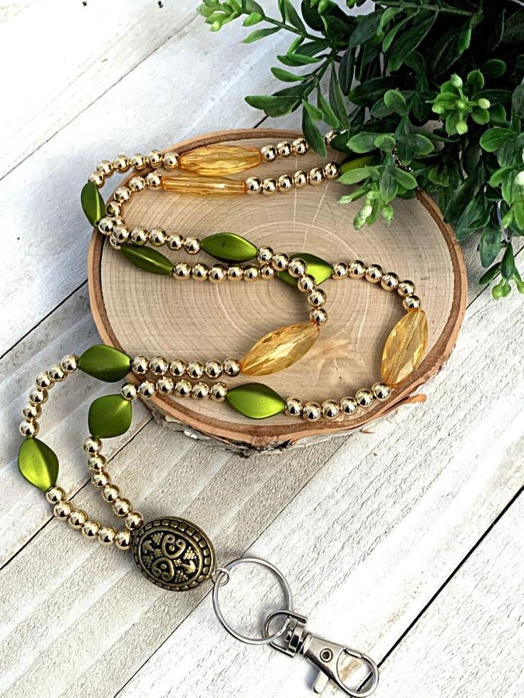 Beaded lanyard classy looking green and yellow womens
