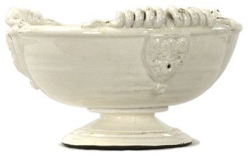 Tuscan White Ceramic Large Footed Pedestal Fruit Bowl - transitional - Decorative Bowls - Kathy Kuo Home