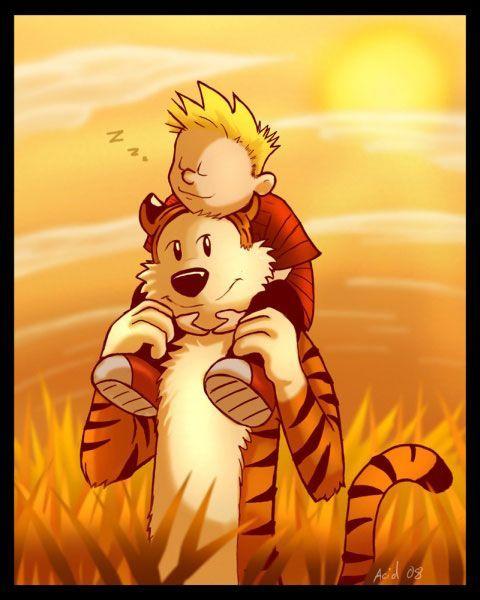 Calvin and Hobbes sunset
