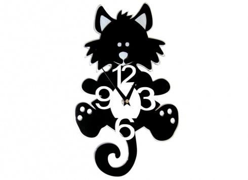 OROLOGIO MURO GATTO. Orologio a muro a forma di gatto sagomato in plexiglass. Funzionante con una batteria AA non inclusa nella confezione.