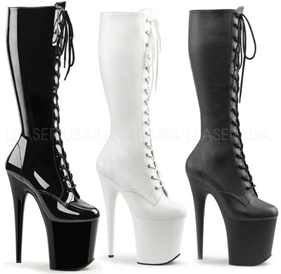 "Pleaser Flamingo 2023  8""(20cm) Heel, 4""(10cm) Platform Lace-Up Front Stretch Knee High Boot, Full-Length Inside Zip Closure"
