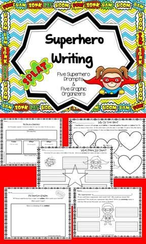 $ There are five graphic organizers and five writing prompts with paper provided to help your little writers further their writing skills.  Could anything be more fun than a superhero theme? *Images of super hero are copyrighted by Pink Cat Studios.*
