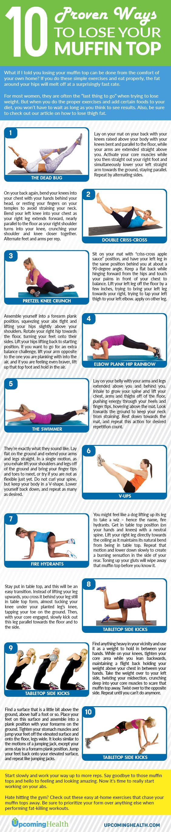 """For most women, the muffin top is often the """"last thing to go"""" when trying to lose weight. But when you do the proper exercises and add certain foods to your diet, you won't have to wait as long as you think to see results. Let's see how!"""