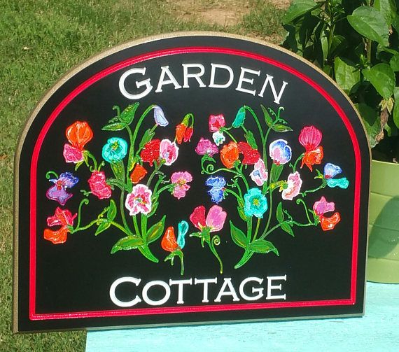 Garden Cottage Flower Sign- Outdoor Porch Sign-PVC Board
