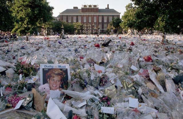 A multi-colored sea of floral tributes to Diana lies outside the gates of her London home. The flowers began to arrive soon after news of Diana's death, in a Paris car crash, reached Britain.