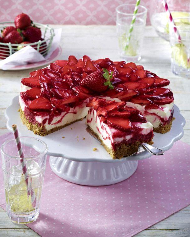 Unser beliebtes Rezept für Käsekuchen mit Erdbeeren und mehr als 55.000 weitere kostenlose Rezepte auf LECKER.de.