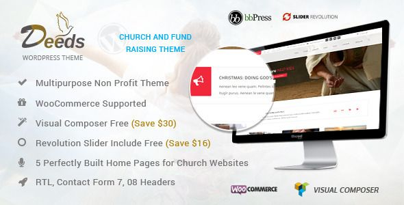 Deeds- Best Nonprofit Church Organization WP Theme   http://themeforest.net/item/deeds-best-nonprofit-church-organization-wp-theme/8009897?ref=damiamio                      The intuitively designed, lightweight and finely coded Deeds premium Church wordpress theme is aimed at building a powerful and progressing website on multiple niches, such as church, religious propagation, nonprofit organization, ministry, event, donation and fundraising websites. It is cleaner, quicker and easier to…