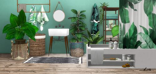 Tropical Bathroom By Viikiita Rar Future House Sims 4