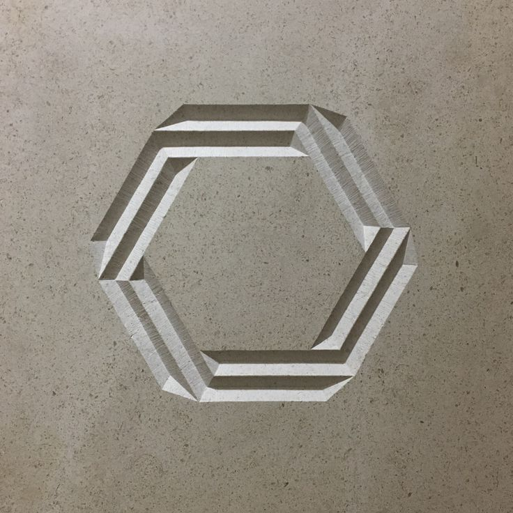'Geohex'  400x400x20mm  Hand carved in Portuguese Limestone  by Zoe Wilson  (for Sale)