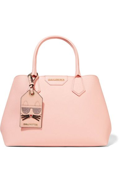 KARL LAGERFELD Blush textured-leather (Calf) Snap-fastening tab at open top Designer color: Quartz