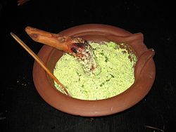 Moretum- Moretum is a type of herb cheese spread that the Ancient Romans ate with bread. A typical moretum was made of herbs, fresh cheese, salt, oil and some vinegar. Optionally, different kinds of nuts could be added. It was a precursor to pesto!
