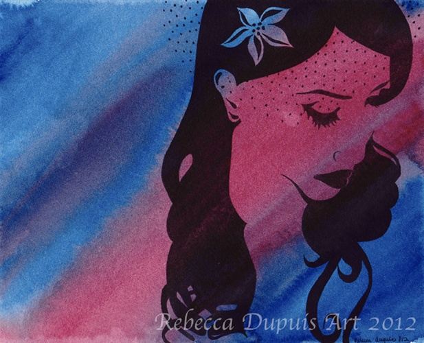 """""""Abashed"""" in Watercolor and Ink on Cotton Paper by Rebecca Dupuis.  Size 8"""" x10"""".  If you have any questions or are interested in purchasing artwork, please contact me on Facebook at RebeccaDupuisArt."""