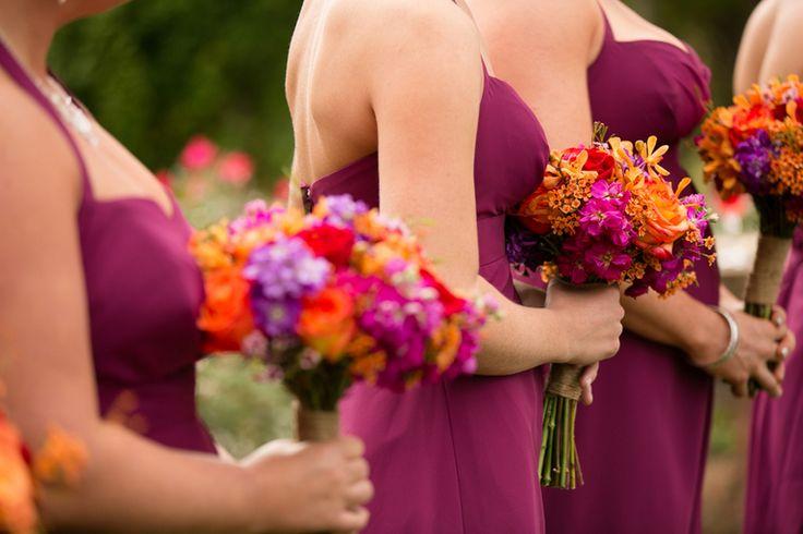Bridesmaids in Sangria dress.Multicolored Fall Wedding by Amanda Hedgepeth Photography » KnotsVilla