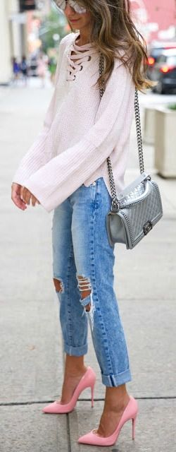 Lace up sweater + pink heel POP.                                                                                                                                                                                 More
