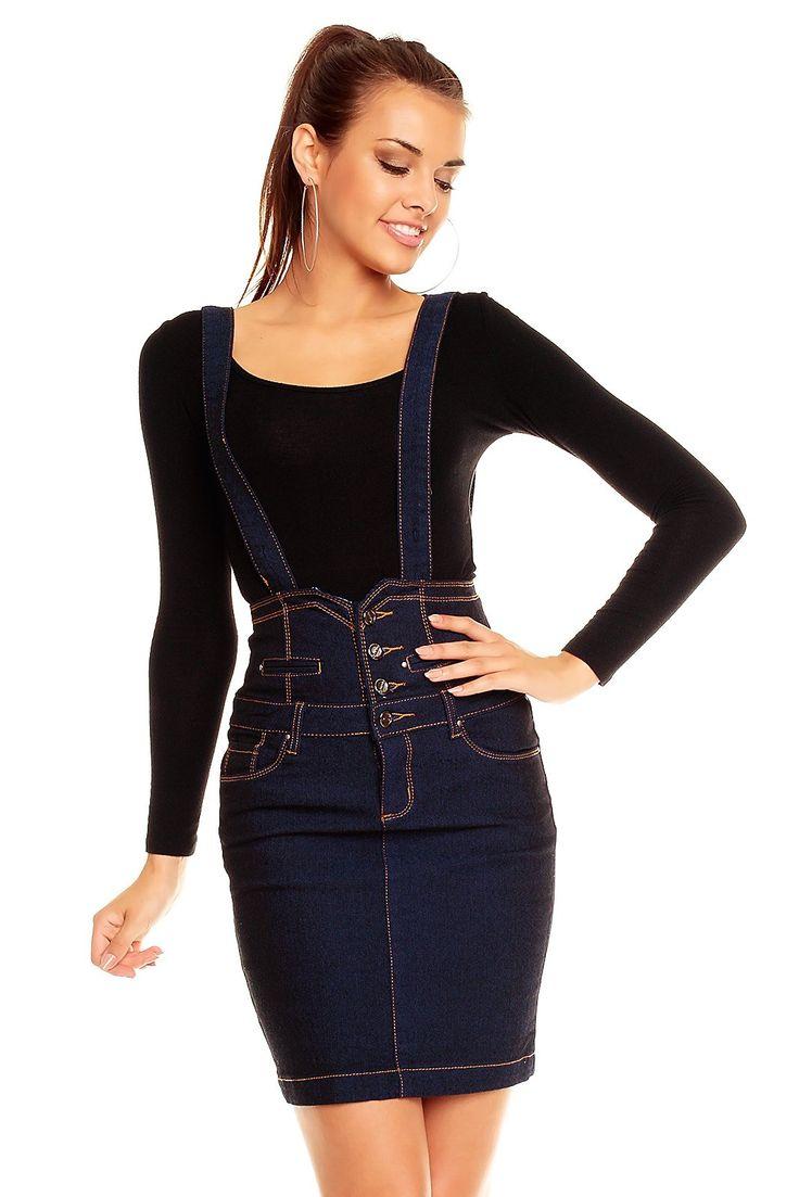 JUST F. Mini Rock Knielang Dark Blue Jeans mit Hosenträger, XS-XL (Gr. S = 36)