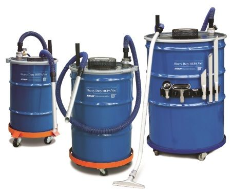 EXAIR's compressed air operated Heavy Duty HEPA Vac attaches to an ordinary 30, 55, or 110 gallon open top drum to turn it into a powerful, HEPA (High Effi ciency Particulate Air) quality, industrial vacuum cleaner. Like