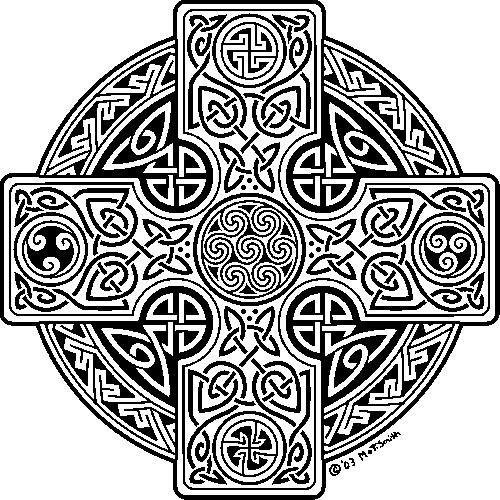 Celtic Cross Tattoo Flash Line Drawing