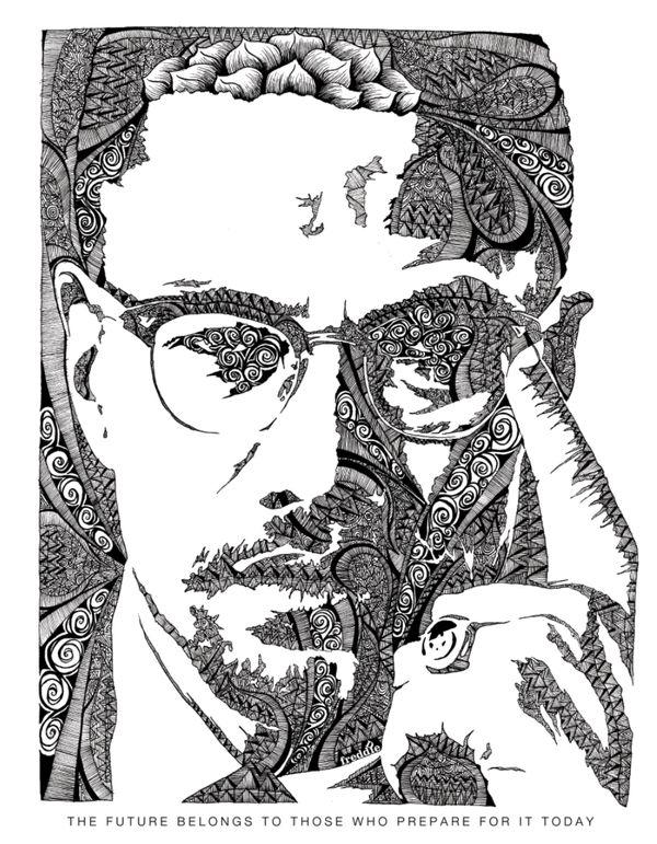 illustrations by freddie denton via behance illustration of malcolm x