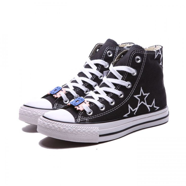 Converse Shoes Black Chuck Taylor All Star Embroidery Stars Unisex Classic Canvas High Top Sneakers