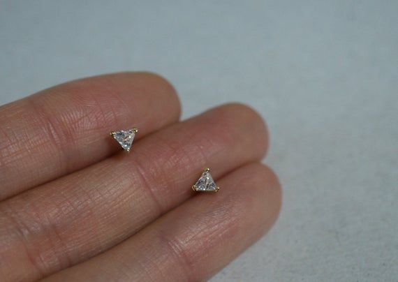 10K Solid Gold White CZ Triangle Stud Earrings Real Gold TG105