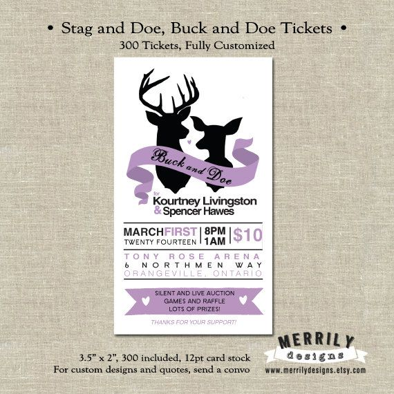 300 tickets stag and doe tickets buck and doe tickets for Jack and jill ticket templates