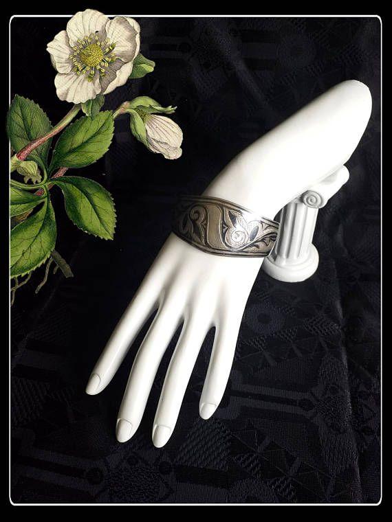 Vintage engraved  silver cuff bracelet