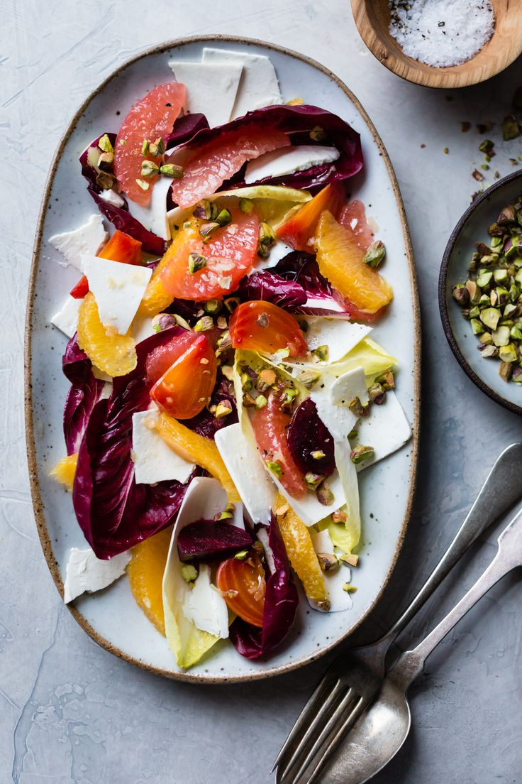 Beet, Citrus, & Chicory Salad with Ricotta Salata and Pistachios