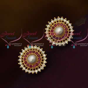 ER10337 Ruby AD White Round Shape Pearl Tops Ear Studs Small Size Earring Design Gold Plated