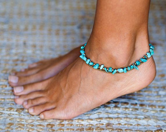 Turquoise Anklet, Elegant and beautiful.  The anklet is made with waxed cotton, brass and turquoise stones. The locket is made with a stylish brass bell that goes into a hoop holding the anklet firmly. Anklet length is 26 cm long (10.5 inches).  The listing is for a SINGLE anklet.  ~~~~~~~~~~~~~~~~~~~~~~~~~~~~~~~~~~~~~~~~~~~~~~~~~~~~~~~~~~~~~~~~~~~~~~~~~~  T O P ∙ S E R V I C E I care about my clients and my work and believe in giving service before and after delivery…