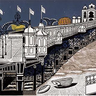 Palace Pier, Brighton by the artist Edward Bawden (1903-1989)