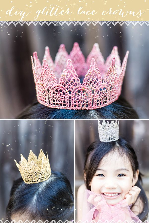 DIY Tutorial: Glitter Lace Crowns. Perfect for cake topper! #DIY #Crowns #Cake