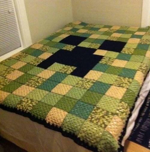 Minecraft creeper quilt