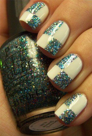 Checkered Glitter... this was done with OPI's Simmer and Shimmer! It is my go-to glitter polish!