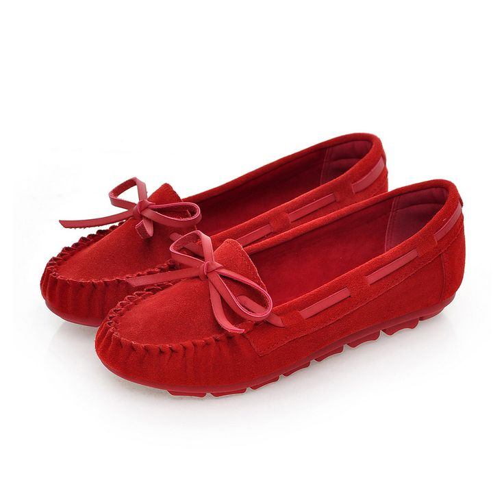 Shoes Women Flats Low Heel Loafers Cow Suede Flock Ladies Boat Bowknot Sexy Summer Autumn Fall Sexy Casual Female Red Blue Shoes