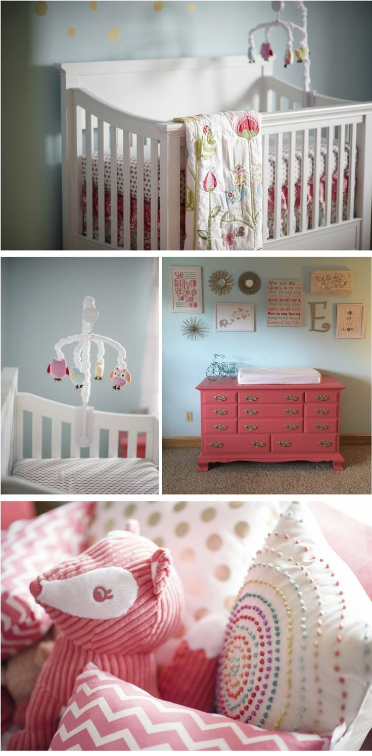 Pink mint and gray baby girl nursery project nursery - Coral And Aqua Baby Girl S Nursery