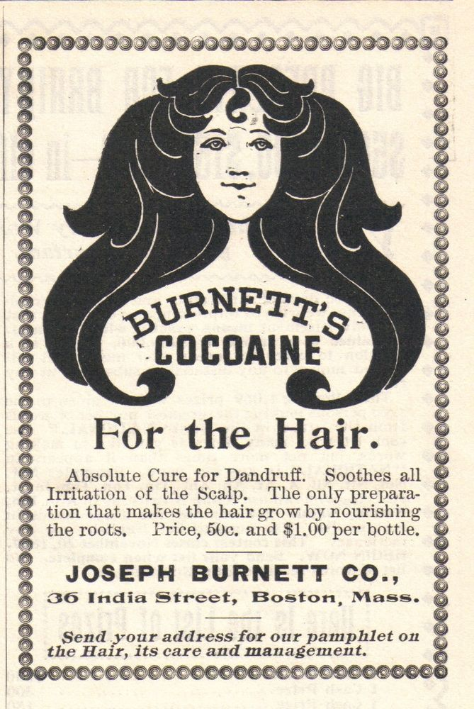 SEPT 1897 MAGAZINE PAGE COPY- BURNETT'S COCOAINE- ABSOLUTE CURE FOR DANDRUFF  #BURNETTSCOCOAINE