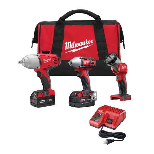 """2696-23 M18 Combo 3/8"""" Impact Wrench / 1/2"""" Impact Wrench / Light / Charger / 2 Batteries"""