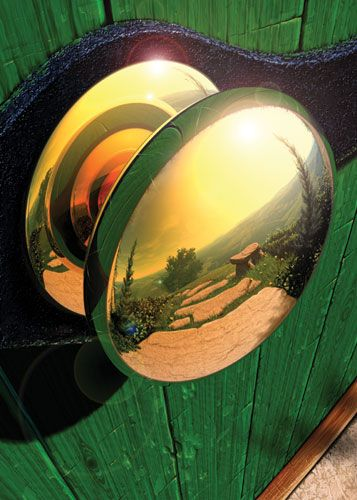 Bilbo's door knob... love this angle, and the lovely reflection of the Shire.  :)