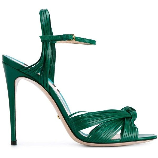 Gucci strappy sandals (£515) ❤ liked on Polyvore featuring shoes, sandals, gucci, heels, green, open toe sandals, green leather sandals, gucci shoes, gucci sandals and green strappy sandals