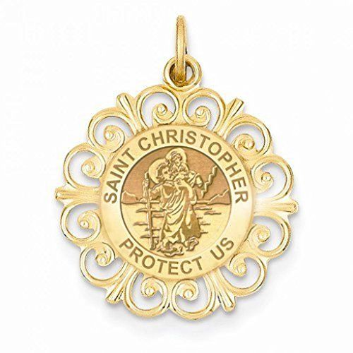 CHAIN IS NOT INCLUDED Available in Solid 14K Yellow or White Gold or Sterling Silver Size Reference: 17mm is the size of a US dime 19mm is the size of a US nickel 25mm is the size of a US quarter This Saint Christopher is the most popular saint worn by travelers.  Features  Available in Solid 14K Yellow or White Gold or Sterling Silver  17mm  size of a US dime 19mm  size of a US nickel 25mm  size of a US quarter  Made in the USA  All Medals are Solid 14k or .925 Sterling Silver  Free Jewelry…
