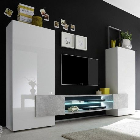 Ensemble TV haut design laqué blanc et couleur béton MARIL