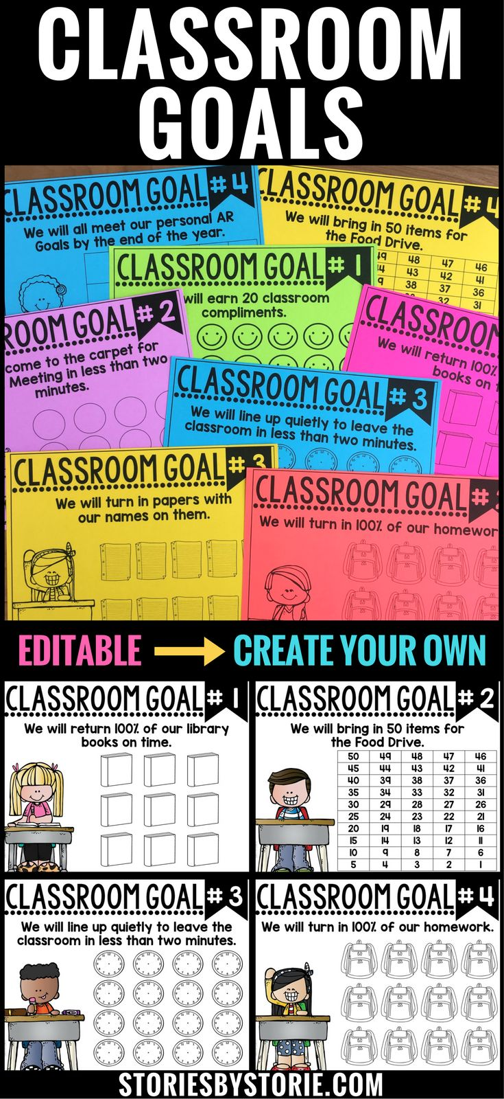 Goals help set a purpose and a direction for where you are headed. While you are building your classroom community, why not take the time to make some common goals that EVERY student in your classroom can work towards? These classroom goal sheets will help your students visually track their progress.