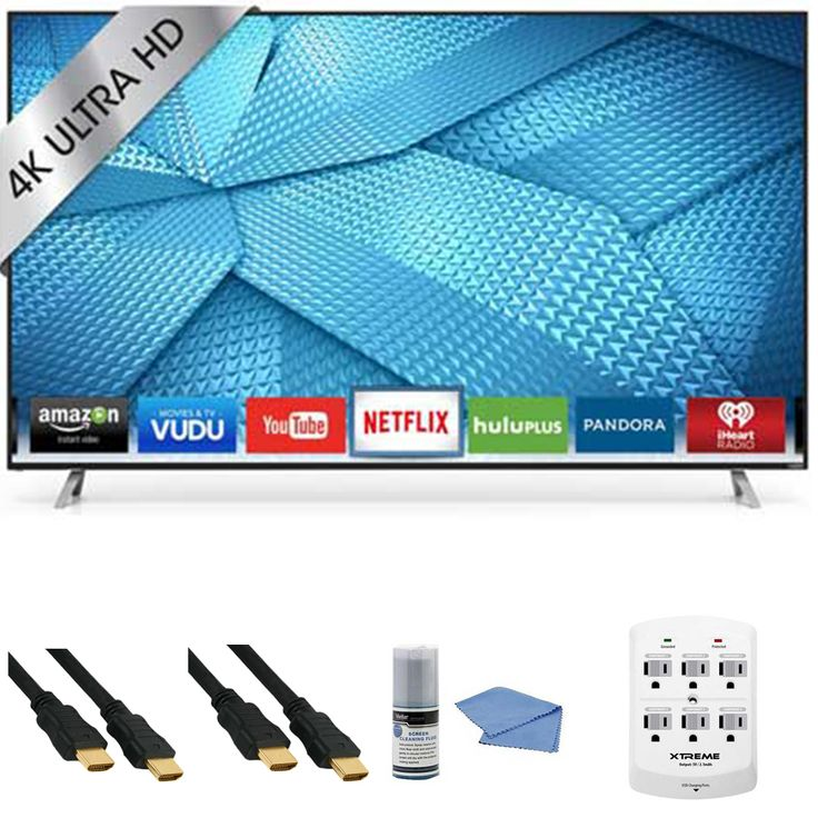 Vizio M60-C3 - 60-Inch 240Hz 4K Ultra HD Smart LED HDTV   Hookup Kit - Includes TV, HDMI to HDMI Cable 6', 6 Outlet Wall Tap Surge Protector with Dual 2.1A USB Ports and Cleaning Kit Review