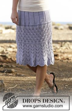 ~~pinned from site directly~~ . . .  Knitted DROPS skirt with lace pattern in…