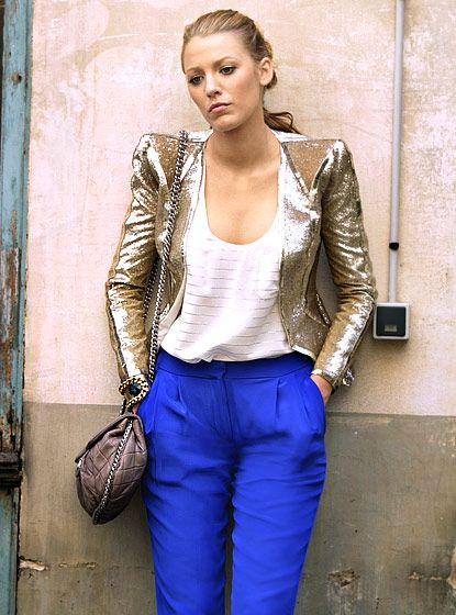 """Gossip Girl's Best Looks From All 6 Seasons!: Season 4, Episode 2: """"Double Identity"""". Serena van der Woodsen (Blake Lively) shimmered wearing a Pucci jacket, Joie tank, Janis Savitt cuff, Tibi pants and a Chanel bag."""