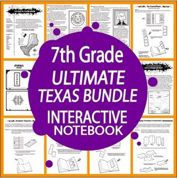This HUGE TEKS-ALIGNED BUNDLE includes our 7th Grade Texas Geography Interactive Notebook Unit, 7th Grade Texas Government and Economy Interactive Notebook Unit, and 7th Grade Texas History Interactive Notebook Bundle, all for one money-saving price!We've addressed EACH and EVERY 7th Grade Texas Social Studies TEKS in this Ultimate Bundle!7TH GRADE TEXAS GEOGRAPHY INTERACTIVE NOTEBOOK UNIT:We've packed 7th Grade Texas Geography with 7 COMPLETE lessons of Nonfiction Informational Text, a…