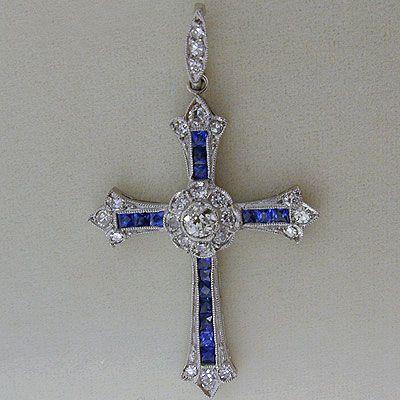 Art Deco Style Platinum Diamond and Sapphire Cross Pendant